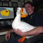 Simplify3D - Mike and Buttercup duck at computer