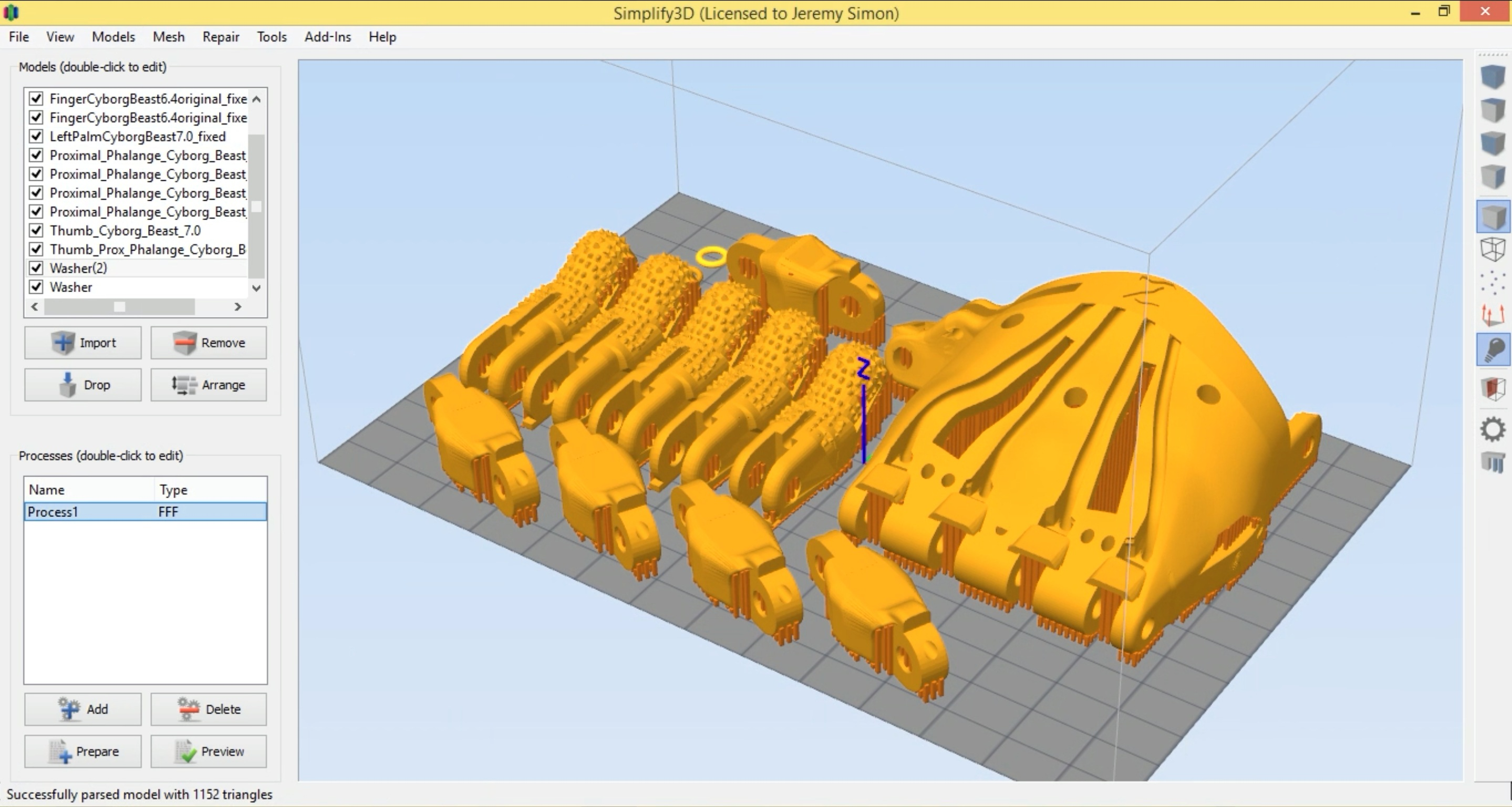Simplify3D - E-nable hand on software build plate