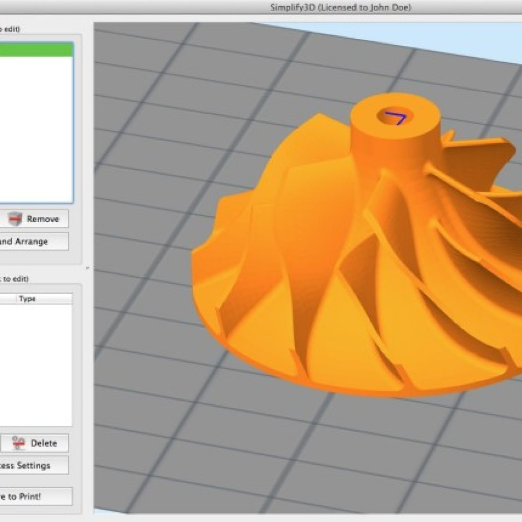 Simplify3D - Compressor wheel in software
