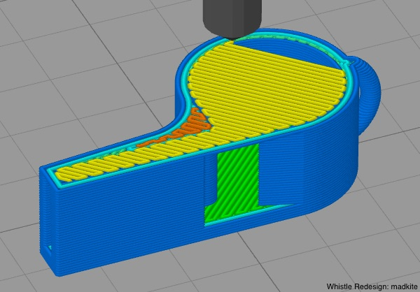Simplify3D - bridging angle with whistle model