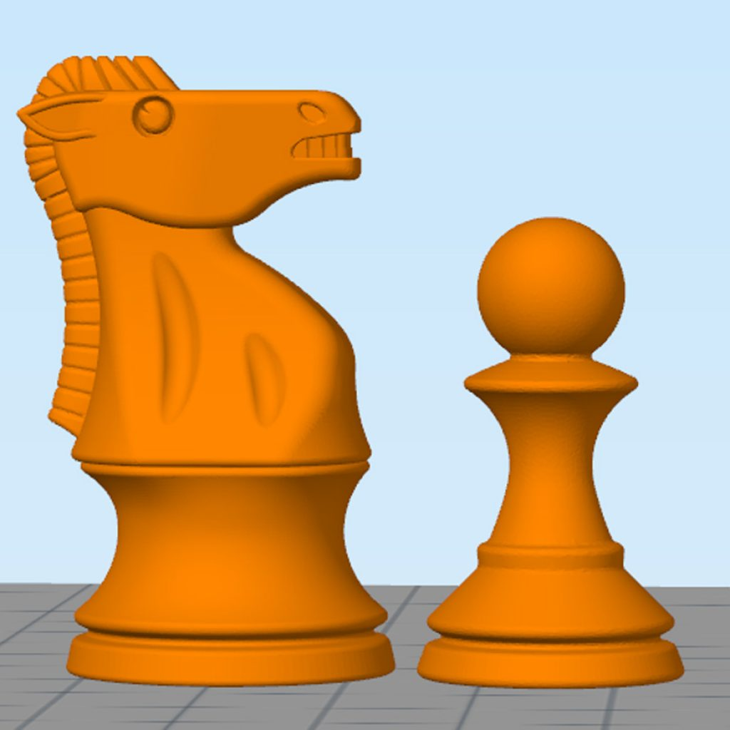 Simplify3D - chess 3D knight and pawn