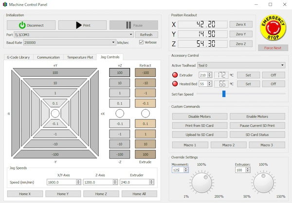 Simplify3D - machine control and monitoring