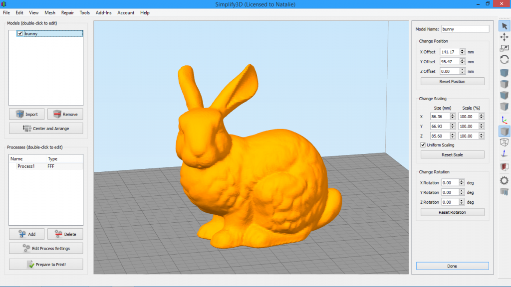 Simplify3D - model settings panel with rabbit model