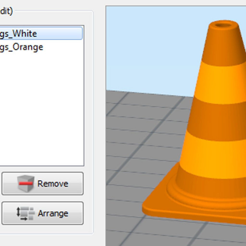 Simplify3D - multi-color traffic cone